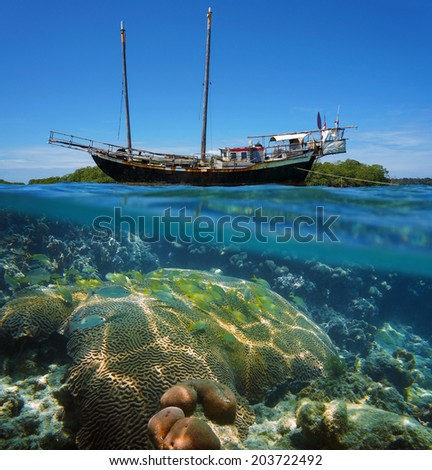 Over-under split view of an old sailing boat stranded on a reef with shoal of tropical fish and coral under the water surface, Caribbean sea - stock photo