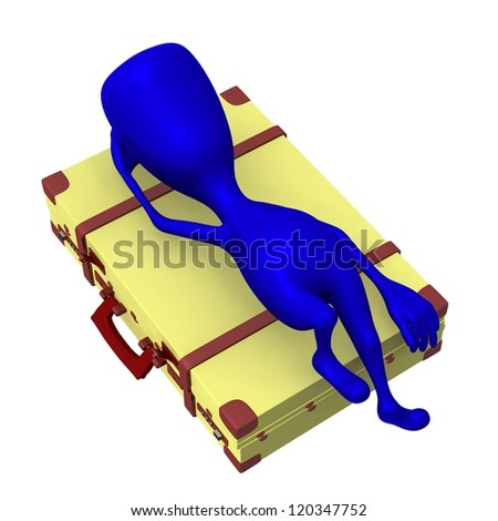 Over view blue puppet lay on squary suitcase - stock photo