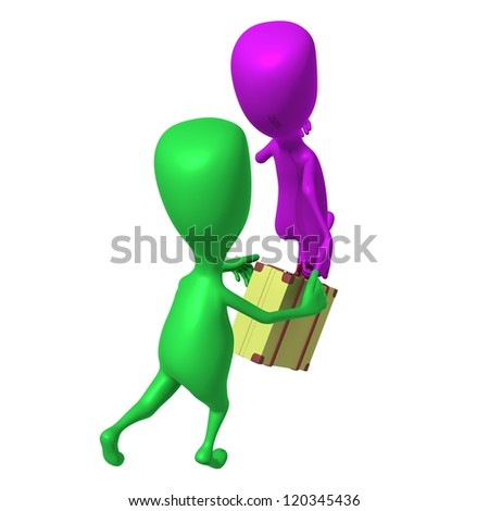 Over view green puppet try stop hurring pink - stock photo