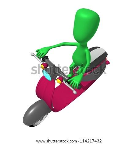 Over view green puppy ride on pink scooter - stock photo