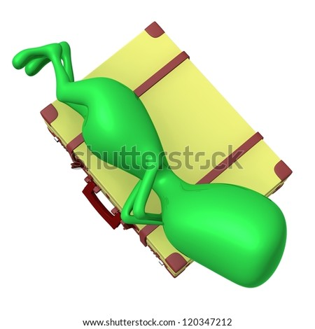 Over view puppet sleeping calmly on big suitcase - stock photo