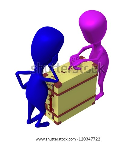 Over view puppets discuss over package in suitcase - stock photo