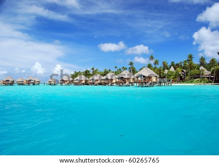 over water bungalow - stock photo