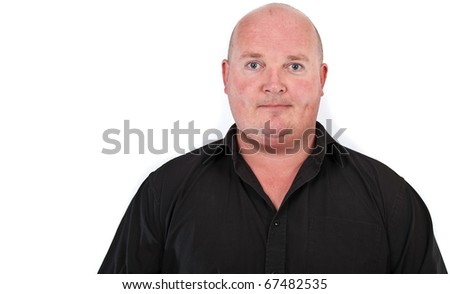 over weight middle age male portrait - stock photo