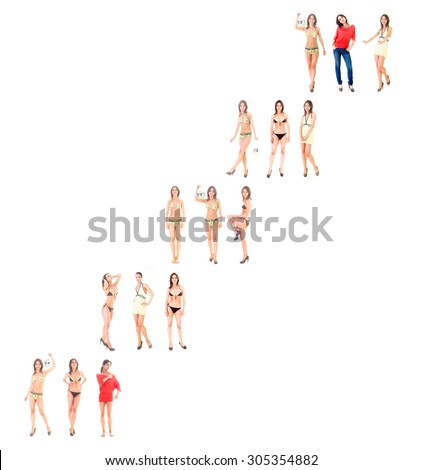 Over White Teamwork Isolated  - stock photo