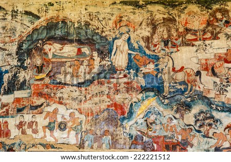 Over 300 year old mural paintings in Buak Khrok Luang  Temple  Chiangmai  Thailand. - stock photo