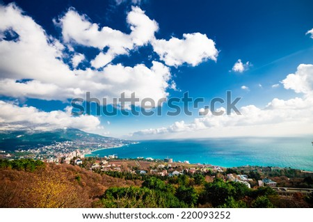 Overall aerial view of Yalta, Crimea - stock photo
