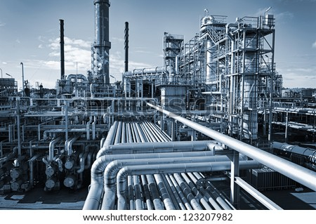 overall view of an oil and gas refinery, pipelines and towers, heavy industry - stock photo