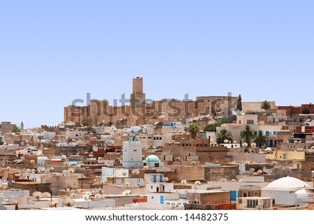 Overall view of city, roofs of houses, archeology museum of Sousse, Tunisia - stock photo