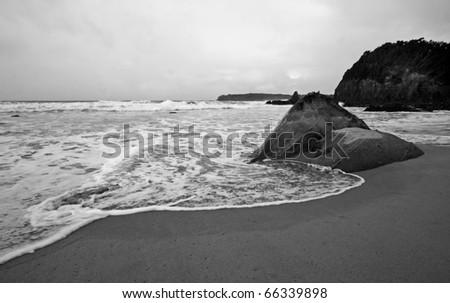 Overcast along the ocean coastline, Kiama - stock photo