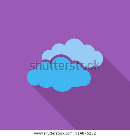 Overcast icon. Flat related icon with long shadow for web and mobile applications. It can be used as - logo, pictogram, icon, infographic element. Illustration. - stock photo
