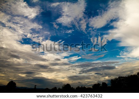 Overcast sky with dark clouds, The gray cloud ,Before rain. - stock photo