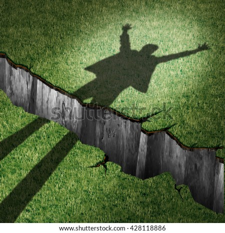 Overcome obstacle and concept of success power as a cast shadow of a cheering person leaping through a cliff opening  as a metaphor for overcoming barriers with 3D illustration elements. - stock photo