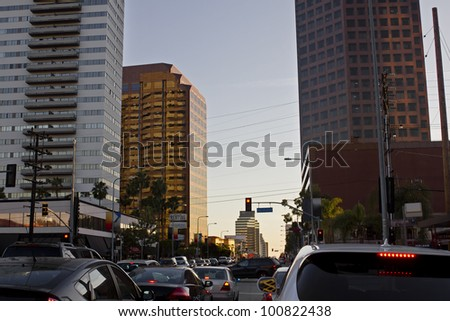 Overcrowded intersection during rush hour in Los Angeles