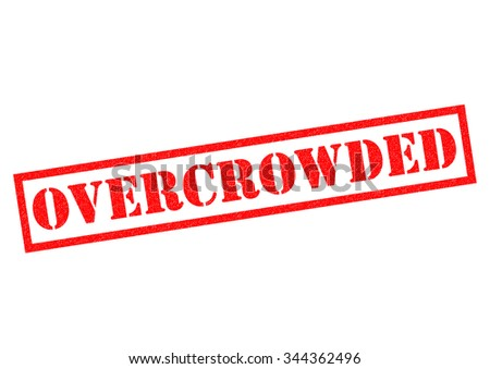 OVERCROWDED red Rubber Stamp over a white background. - stock photo