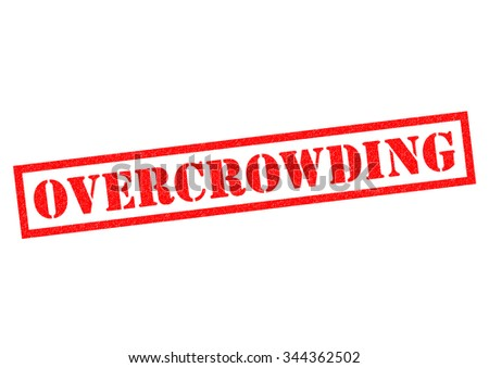 OVERCROWDING red Rubber Stamp over a white background. - stock photo