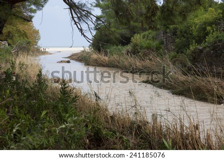 Overflowed River - Flood Disaster in Olympos, Turkey, Asia - stock photo