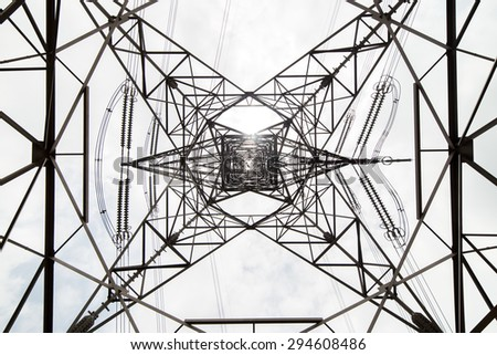 Overhead Cables from Bottom View - stock photo