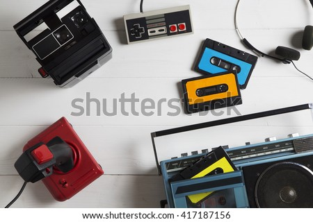 overhead of a series of electronic equipment in vogue in the 80s / 80s passions - stock photo