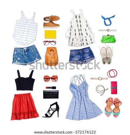 Overhead of clothes and woman accessories. Outfit of casual and modern woman on isolated white background. - stock photo