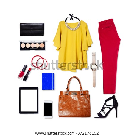 Overhead of essentials elegant woman. Outfit of casual and modern woman on isolated white background. - stock photo
