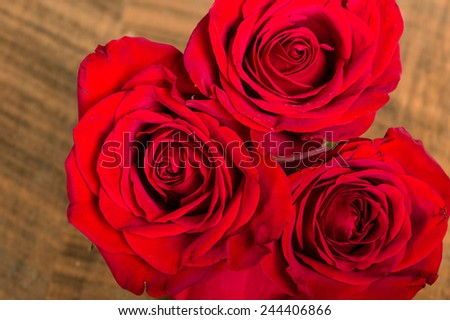 Overhead of three bright red roses - stock photo