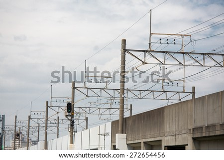overhead power lines with the blue sky