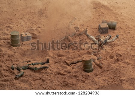 Overhead shot of a died soldiers in the battlefield - stock photo
