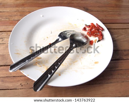 overhead shot of an empty dish - stock photo