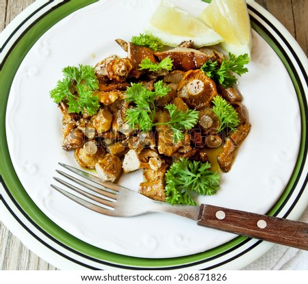 Overhead Shot of Chanterelle Stew with Garlic and Parsley, Delicious Mushrooms Dish - stock photo