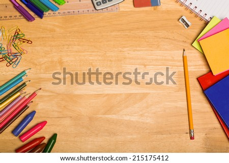 Overhead shot of pupils desk with copy space - stock photo