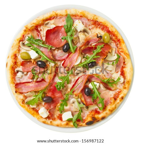 Overhead shot of tasty pizza with plenty of fresh toppings - stock photo