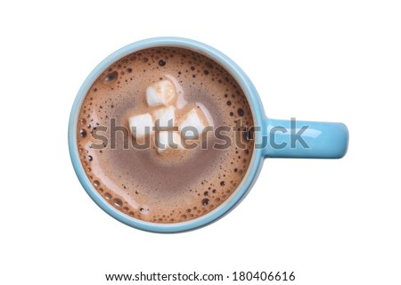 Overhead view of a mug of hot cocoa with marshmallows cutout, isolated on white background - stock photo