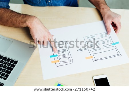 Overhead view of an web application layout - stock photo