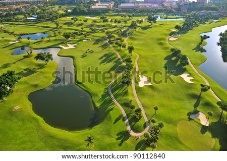 overhead view of florida golf course - stock photo