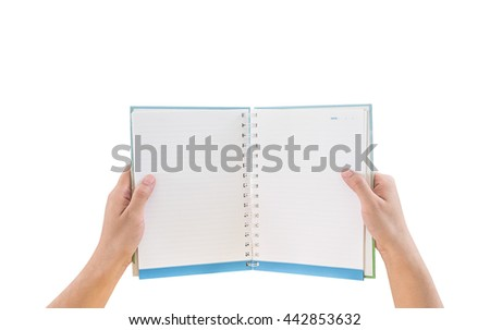 overhead view of hands holding a blank book - stock photo