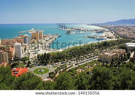 Overhead view of Malaga buildings and port on the beautiful Costa Del Sol, in the Mediterranean Sea