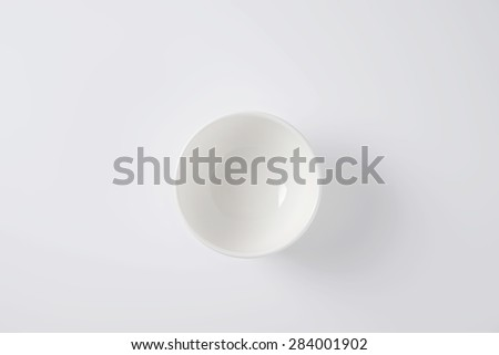overhead view of pure white empty bowl - stock photo
