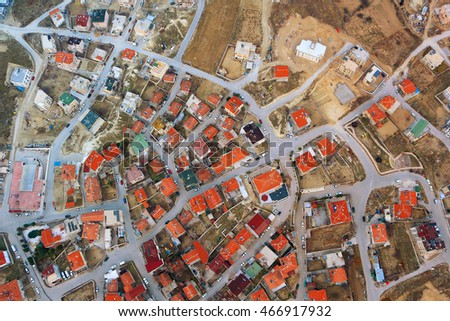 Overhead View of rooftops in a small town in Cappadoccia, Turkey