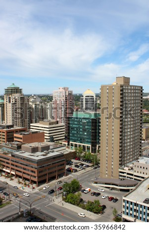 Overhead view of some highrise office and apartment buildings in Calgary, Alberta, Canada - stock photo