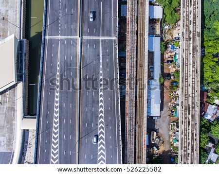 Overhead view of transport on Highway Road, Bangkok, Thailand