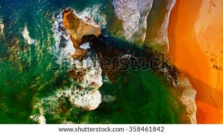 Overhead view of Twelve Apostles, Australia. - stock photo