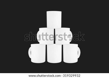 Overlap white mug on isolated. White mug isolated. Clipping path mug. Handle mug isolated. Overlap white cup isolated. Ceramic mug isolated. Overlap cup. Blank cup isolated. Blank mug isolated. Cup - stock photo