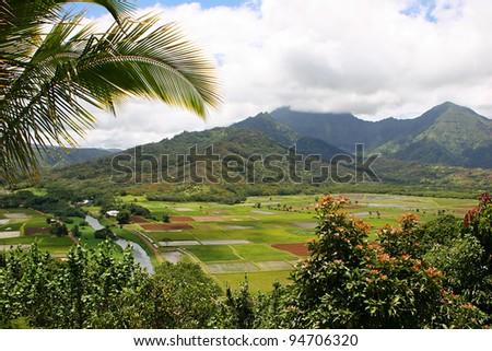Overlook Landscape View of Beautiful Kauai Hawaii Island - stock photo