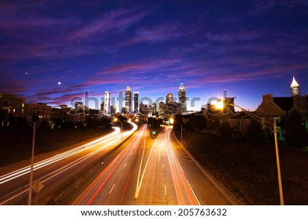 Overlook of Atlanta downtown at dusk - stock photo