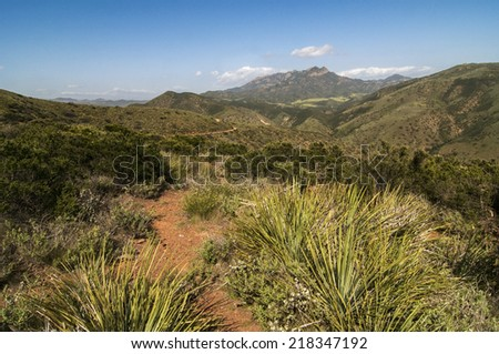 Overlook of  from Backbone Trail in the La Jolla Valley, Point Mugu State Park, CA - stock photo