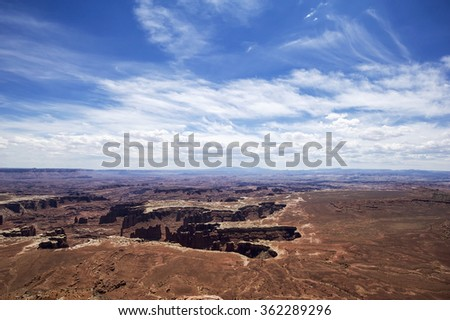 Overlook of the red rock mountains at Canyonslands National Park, Utah, USA - stock photo