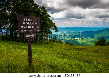 Overlook sign and view on Skyline Drive in Shenandoah National Park, Virginia. - stock photo