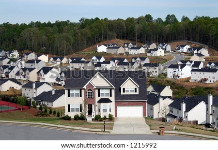 Overlooking a neighborhood of midsize homes. - stock photo