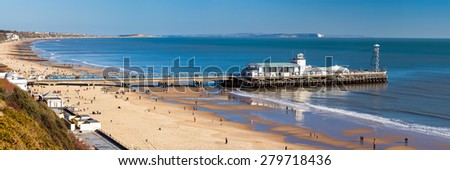 Overlooking Bournemouth Beach and Pier Dorset England UK Europe - stock photo